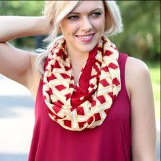 Mud Pie Gameday Scarf - garnet and gold