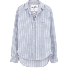 Frank & Eileen Eileen Shirt - Multi-Blue Stripe Italian Chambray (1.245 ARS) ❤ liked on Polyvore featuring tops, shirts, blouses, blusas, blue striped shirt, stripe top, striped top, chambray shirt and frank eileen shirts