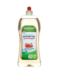sodasan-oko-folyekony-mosogatoszer-granatalma Cleaning Supplies, Soap, Dishes, Bottle, Pomegranate, Cleanser, Flask, Utensils, Cutlery