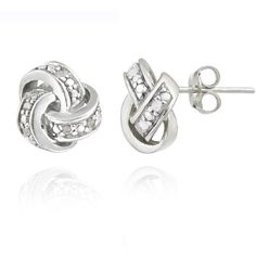 DB Design Sterling Silver 1\\\\\\\/10ct TWD Diamond Love Knot Earrings featuring polyvore women's fashion jewelry earrings white diamond stud earrings round stud earrings pave stud earrings fake diamond earrings and diamond earrings