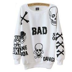 Punk Skull Print Outwear Pullover Tudo Sobre Moda d2ff5bffaba