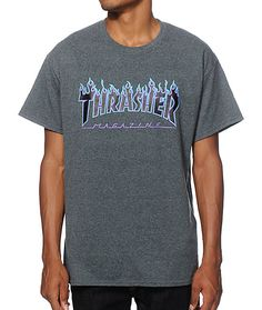 Skate in iconic style with a black, light blue, and purple flaming Thrasher Magazine graphic at the chest of a charcoal colorway.