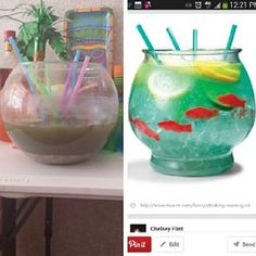 An easy way to repel all your friends is to try and serve them this fishbowl cocktail. | 24 Pinterest Fails That Will Make You Feel Better About Your Summer