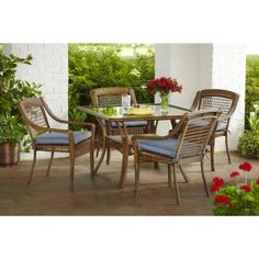 Hampton Bay Spring Haven Brown All-Weather Wicker 5-Piece Patio Dining Set with Sky Cushions-66-2995 - The Home Depot