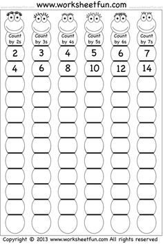 Skip Counting by and 7 – Worksheet / FREE Printable Worksheets – Worksheetfun Kids Math Worksheets, Free Printable Worksheets, Math Activities, Letter Worksheets, Skip Counting Activities, Counting By 2, First Grade Math Worksheets, Free Printables, Teaching Multiplication