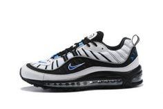 eeb678d8e065b8 Mens Nike Air Max 98 Running Shoes White Hyper Cobalt Black Metallic Silver  640744 102