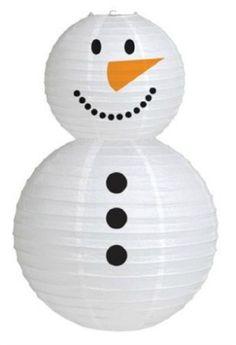 Paper lantern snowman - so adorable #snowmandecoration