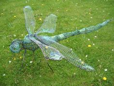 Steel Rod and Wire #sculpture by #sculptor Fiona Campbell titled: 'Dragonfly I (Giant Outsize Copper garden statues/garden Art)'. #FionaCampbell