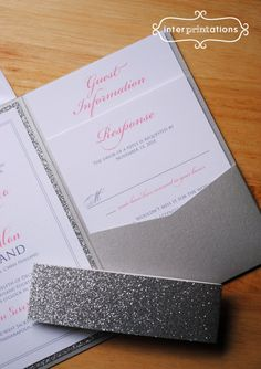 Glitter Pocketfold Wedding Invitation Set by Interprintations