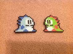 Set of 2 Bubble Dragons, Bub and Bob from Bubble Bobble - Perler Bead Sprite
