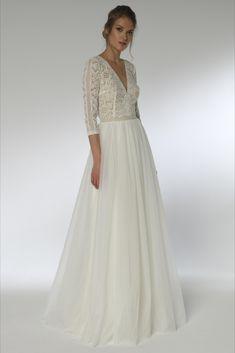 Vintage Brautkleid mit V-Neck  Marke Lilurose