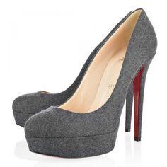 Louboutin Bianca 140 Flanell Pumps Grau #shoesforwomen
