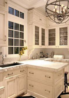 Kitchen- love the light fixture