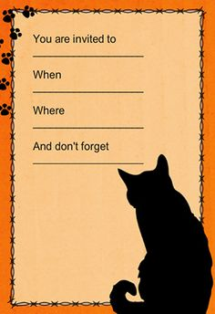 """Black cat"" printable invitation. Customize, add text and photos. print for free!"