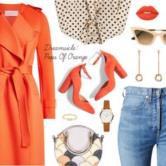 Dreamsicle: Pops Of Orange by dressedbyrose on Polyvore featuring Burberry, Harris Wharf London, RE/DONE, Topshop, Chloé, Anissa Kermiche, Christian Roth, orangeoutfit and popsoforange