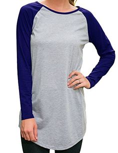 ffea77485bf Allegrace Women Round Neck Long Sleeve Tshirt Blouse Casual Tops Long Tee  Shirts M Blue