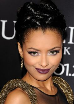Purple Lips on Kat Graham of the CWTV show, The Vampire Diaires