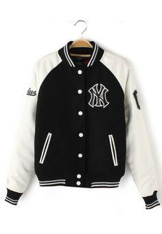 Leather Sleeve Block Baseball Jacket  #6ks
