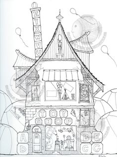 TOY SHOP - Colouring page, printed on mixed media paper Colouring Pages, Printable Coloring Pages, Page Online, Toys Shop, Colored Pencils, Line Art, Craft Supplies, Balloons, How To Draw Hands