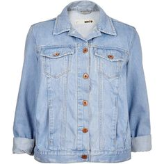 TOPSHOP MOTO Light Blue Western Jacket ($90) ❤ liked on Polyvore featuring outerwear, jackets, tops, coats, coats & jackets, light blue, cowboy denim jacket, denim jacket, topshop and jean jacket