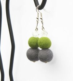 Felted earrings 40 long earrings cracked glass by MarudaFelting