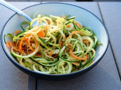 No-Cook Zucchini Noodles with Quick Italian Dressing | This simple side is a veggie-centric take on classic pasta salad. It's a crowd-pleasing side dish that comes together in hardly any time at all and is the perfect addition to any summer gathering - or even regular ol' lunch! | www.myuncommoneveryday.com
