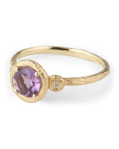 Made In Israel 14k Yellow Gold Amethyst White Sapphire Ring