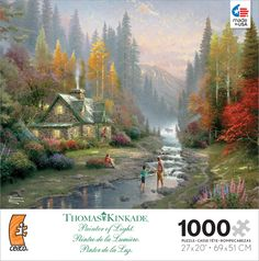 """Thomas Kinkade artist series from Ceaco features work by the acclaimed painter. Kinkade (January 19, 1958 - April 6, 2012) is among America's most collected artists. With paintings that are realistic, bucolic and feature idyllic subjects, he emphasized the simple pleasures of life and nature. Each puzzle is 1000 pieces and measures 27"""" $11.99"""