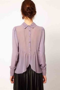 $22.99 Light Purple Hollow Crochet Lapel Long Sleeve Buttons Back Chiffon Shirt @ MayKool.com