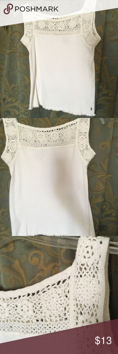 Polo Jeans crochet cotton top Sz L Classy stretch top that is off white. The top is even it just looks odd because I was trying to move my shadow out. Polo Jeans Tops Crop Tops