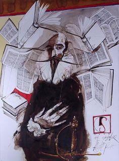 Illustration by Luis Scafati for 'Don Quixote'.  http://www.luisscafati.com.ar/dibujosquijote.html#