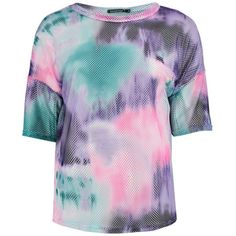 Boohoo Hope Tie Dye Oversized Mesh Tee ($30) ❤ liked on Polyvore featuring tops, t-shirts, crop tee, crop t shirt, cropped cami, mesh crop top and tie dye t shirts