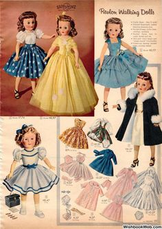 REVLON dolls: before barbie+better than barbie! 1957 Sears Christmas Catalog - A Nostalgic Look at the Sears Christmas Catalog Old Dolls, Antique Dolls, Vintage Dolls, Vintage Sewing, Vintage Paper, Doll Clothes Patterns, Doll Patterns, Vintage Patterns, Clothing Patterns