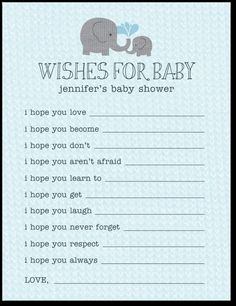 Wishes For Baby ~ sweet idea for all the guests at the baby shower to fill out these cards.