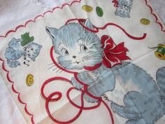 SALE  vintage hanky  KITTENS   child's by theartfloozy on Etsy, $7.95