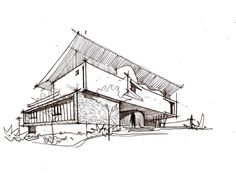 Image 27 of 30 from gallery of Architect& House / Jirau Arquitetura. Architecture Concept Drawings, Architecture Portfolio, Architecture Plan, Chinese Architecture, Futuristic Architecture, House Sketch, House Drawing, Architect House, Architect Design