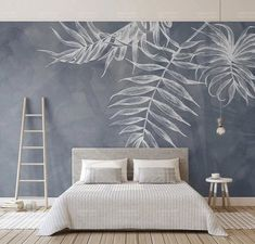 Leaf Wallpaper Tropical Wall Murals Monochrome Wall Decor Palm Tree Leaves Wall Art Tropic Home Design Natural Cafe Decor Living Room Bedroo Bedroom Murals, Bedroom Decor, Bedroom Wall Decals, Bedroom Beach, Bedroom Sets, Girls Bedroom, Bedrooms, Kids Wall Murals, Mural Wall Art