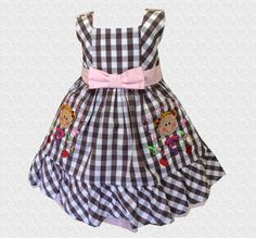 b61e18de9 12 MO theme I'm one Today checkered My First Birthday brown and white baby  dress