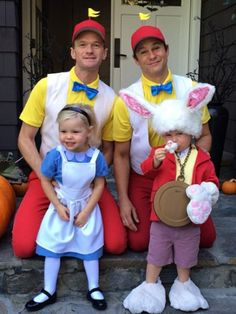 "Off to wonderland they go! Continuing their tradition of family Halloween costumes, Neil Patrick Harris and his fiance David Burtka dressed up as Tweedledee and Tweedledum from Alice in Wonderland. Their three-year-old twins, Harper and Gideon, looked adorable as Alice and the White Rabbit. ""Our costumes for the Halloween carnival at the kids"