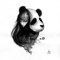 June Leeloo a réalisé une série de dessins de Panda et femme à l'encre de Chine intitulée Pandamonium.