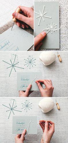 Bestickte Weihnachtskarten selbermachen. Tolle persönliche Weihnachtskarten
