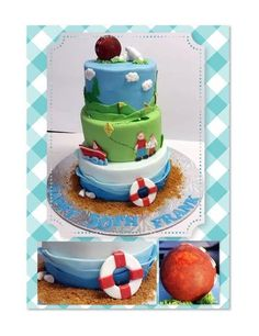 Cricket, golf, family and boating themed cake.