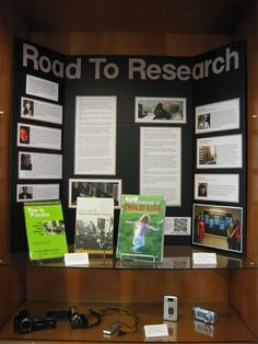 "July 2013 in the Library: ""The Road to Research, how the Library can help students during the research process."" This board is an adaptation of the Documentation Studio display created by Gabrielle Mulrean, Erin Whooley, Kayla Sharpe, and Tonique Clay.  And yes, you can check out video equipment from the Library with your Wheelock ID!"