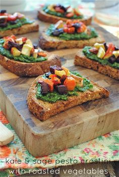 Kale & Sage Pesto Crostini with Roasted Vegetables via Bev Cooks