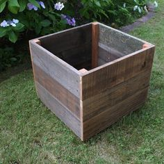 Rustic Reclaimed Wood Planter Box 30x30 and add lockable wheels!