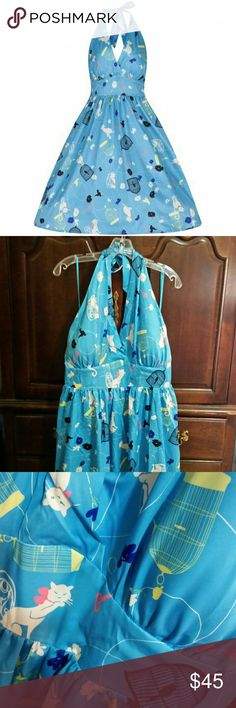 Lindy Bop Birdcage Retro Pinup Plus Size Dress Femine, light and airy! Lindy Bop retro plus size pinup halter dress in light robin's egg blue with cat and birdcage pastel print with black accents. BNWT ~ never worn. Dress is discontinued in this size! (NOTE: I found this dress to run large; I believe it will fit a 20. See measurements on size chart.) ModCloth Dresses