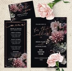 Beautiful Zoey. Edit the text in Microsoft word. floral on black elegant wedding stationery.
