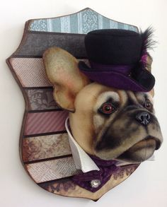 French Bulldog, felt, fabric and resin. An original head study by Lisa Pay.