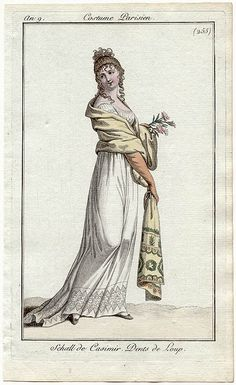 Trained gown with decorative hem, an9 Costume parisien