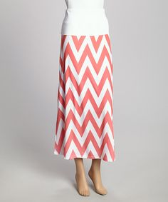 Great price on pink and white zig-zag maxi skirt #chevron #fashion #spring